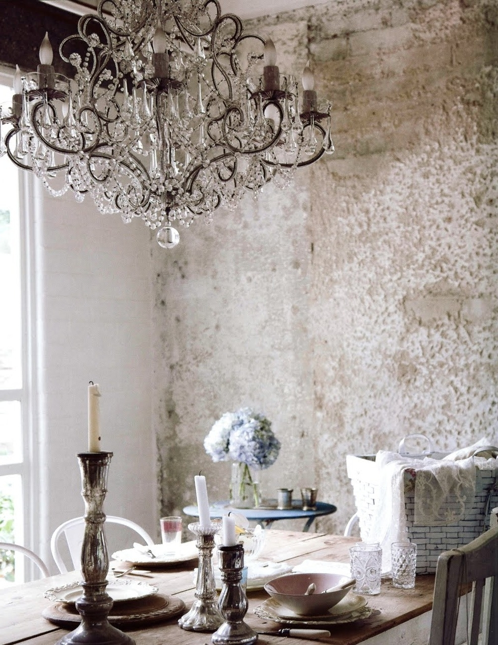French Country Glass Dining Room Chandelier Above Custom Diy Regarding Well Known French Wooden Chandelier (View 17 of 20)
