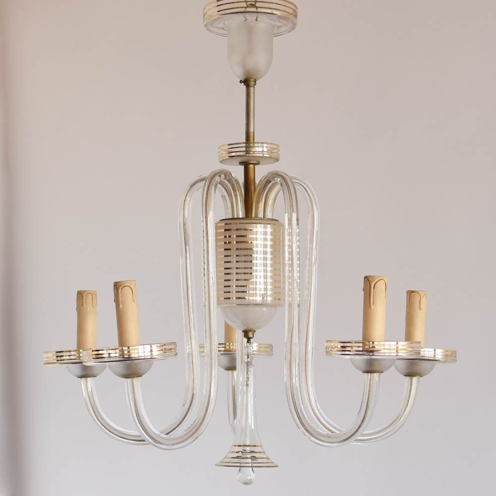French Glass Chandelier For Recent Simple Glass Chandelier W/gold Stripes – The Big Chandelier (View 6 of 20)