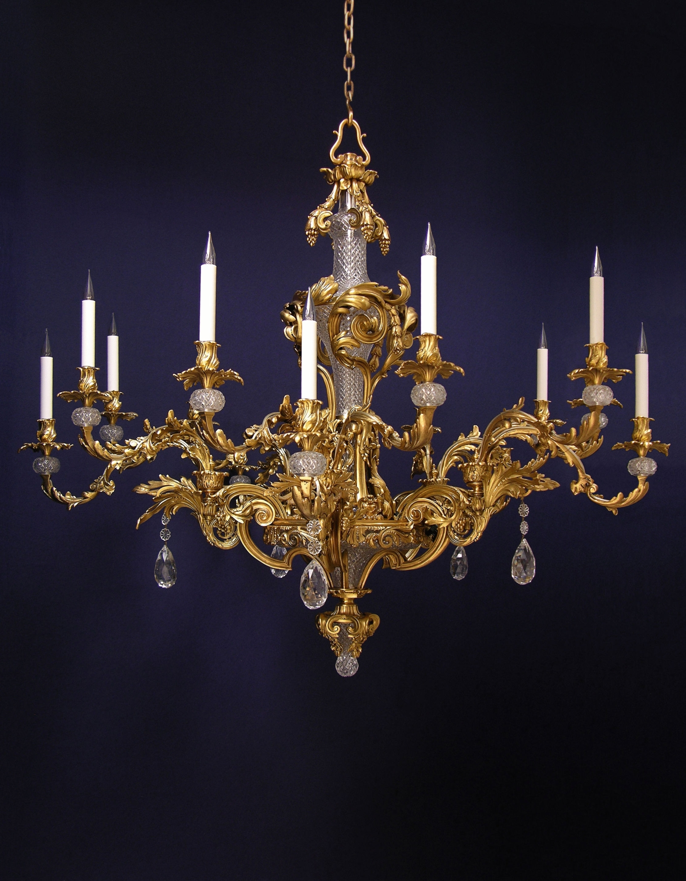 French Glass Chandelier In Popular French Rococo Fifteen Branch Gilded And Cut Glass Chandelier (C (View 7 of 20)