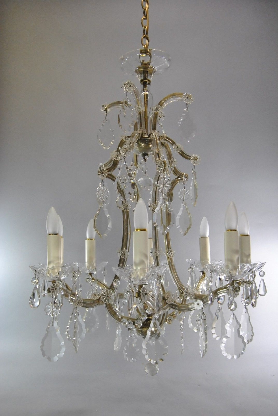French Glass Chandelier Pertaining To Trendy Vintage French Style 8 Arm Crystal Chandelier (View 8 of 20)