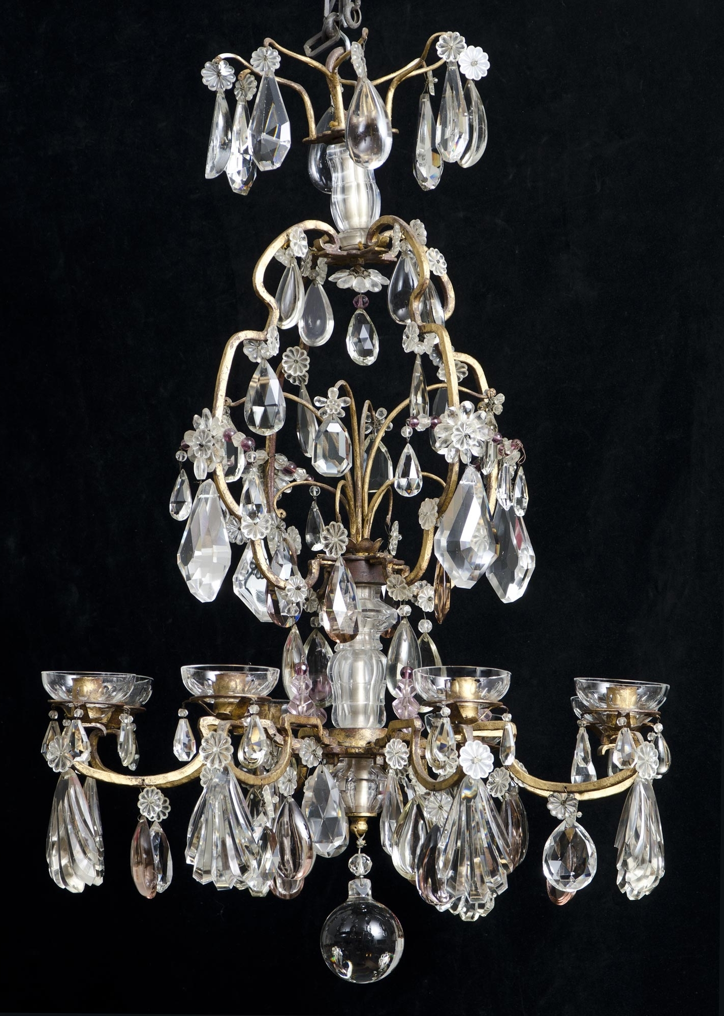 French Glass Chandelier Pertaining To Widely Used Eight Light Antique French Crystal Chandelier (View 9 of 20)