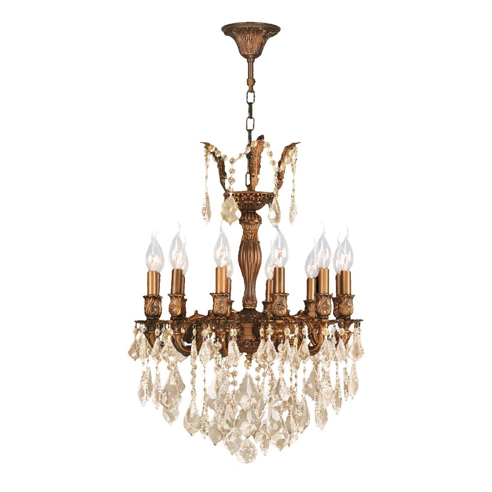 French Gold Chandelier Regarding Most Recently Released Worldwide Lighting Versailles 12 Light French Gold Chandelier With (View 9 of 20)
