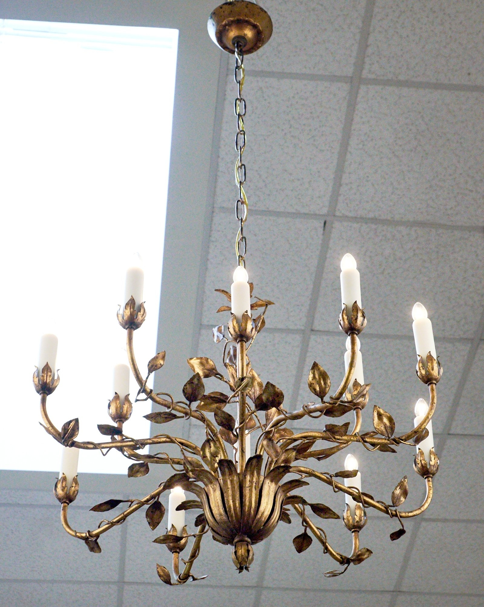 French Gold Leaf Tole Chandelier For Sale At 1Stdibs Throughout Most Current Gold Leaf Chandelier (View 6 of 20)
