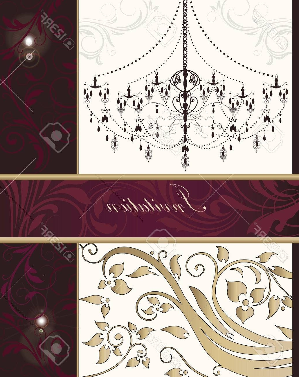 Fuschia Chandelier Intended For Popular Vintage Invitation Card With Ornate Elegant Retro Abstract Floral (View 9 of 20)
