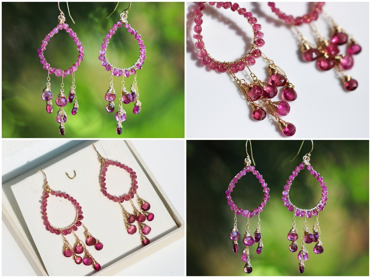 Fuschia Chandelier Pertaining To Best And Newest Chandelier : Rubellite Pink Tourmaline Chandelier Earrings In Gold (View 7 of 20)