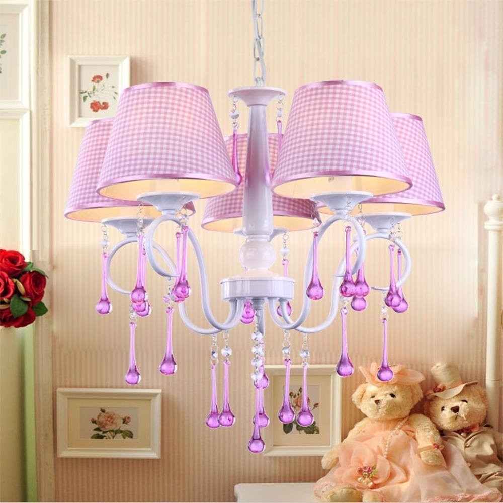 Fuschia Chandelier Pertaining To Most Up To Date Childrens Lamps Girls Ceiling For Baby Room Chandelier Canada (View 16 of 20)