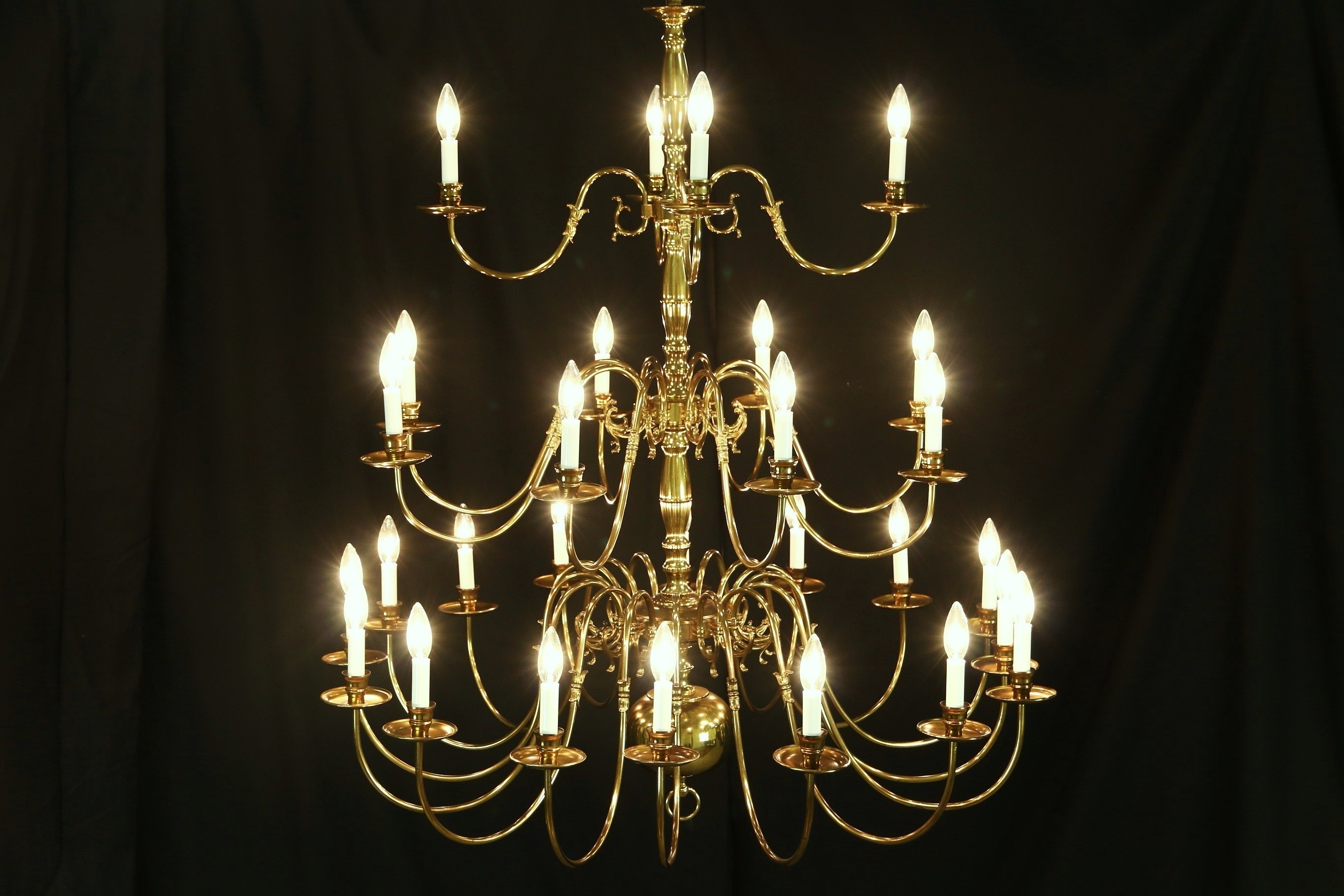 Georgian Chandelier With Famous Sold – Georgian Style Chandelier, Vintage 3 Tier Patinated Brass, 28 (Gallery 14 of 20)