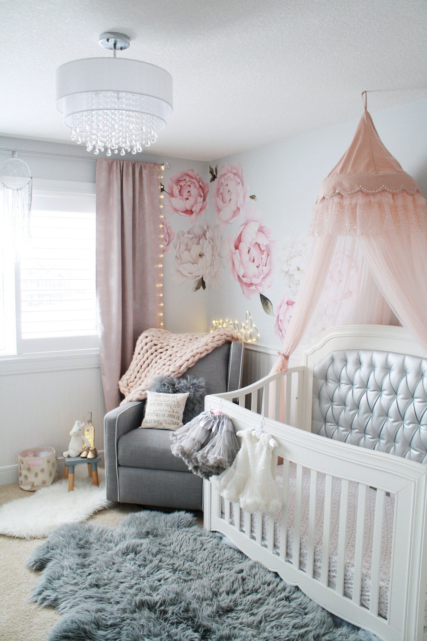 Glamorous Pink And Gray Nursery • Baby Girl Nursery In Gray, White With Regard To 2019 Chandeliers For Girl Nursery (View 11 of 20)