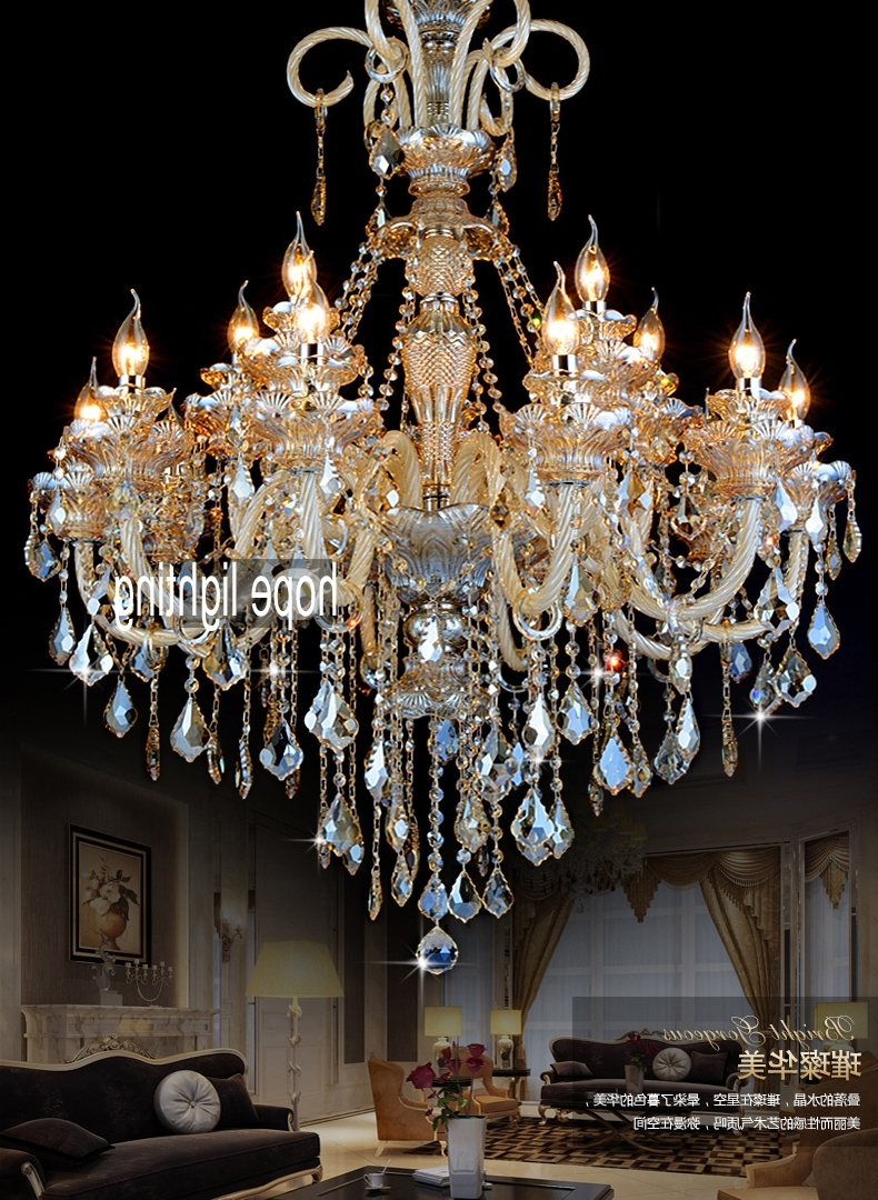 Glass Chandeliers Intended For Trendy Entranceway Door Lighting Hotel Long Chandeliers Lighting Gold (View 7 of 20)
