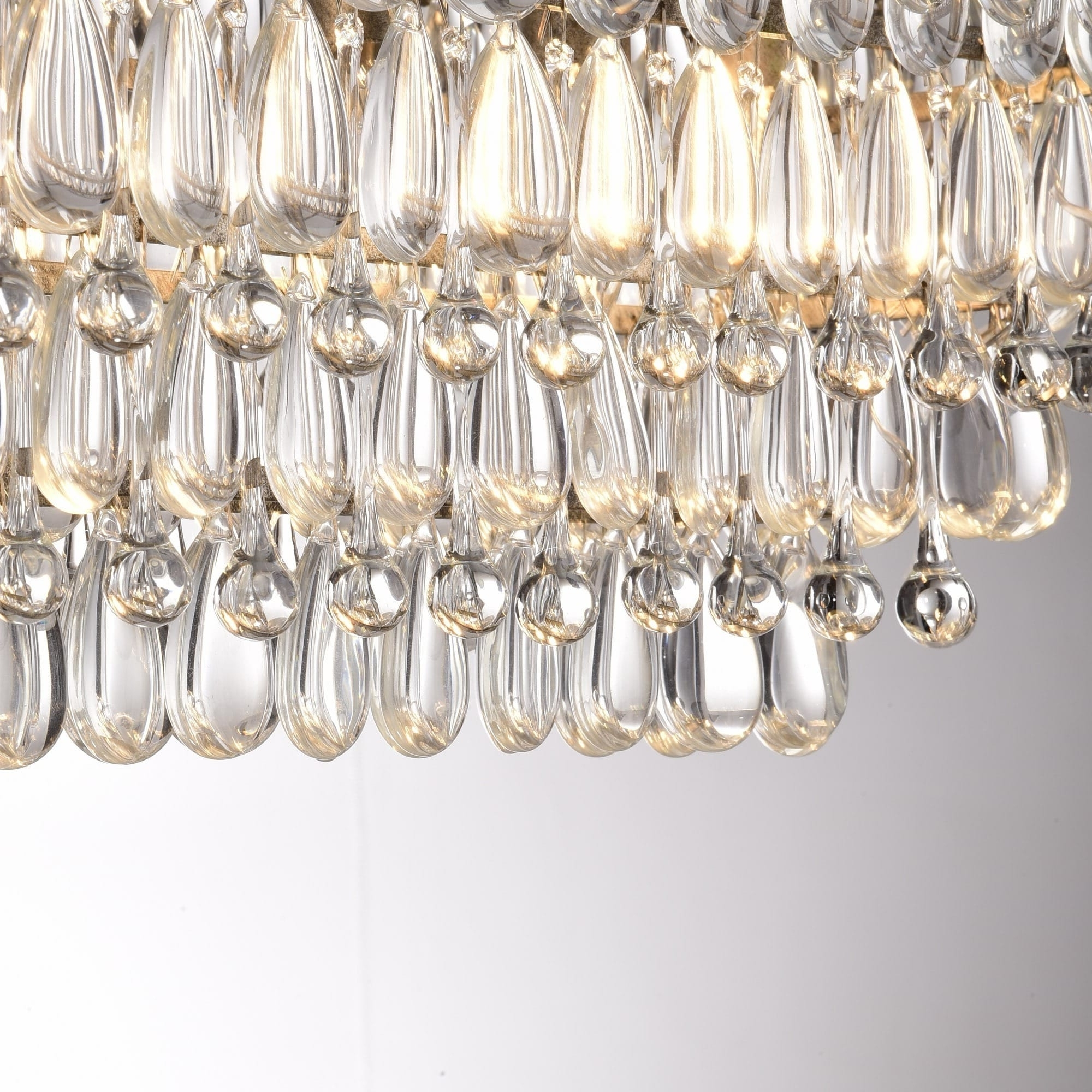 Glass Droplet Chandelier Inside Preferred The Lighting Store Antique Silver 6 Light Rectangular Glass Droplets (Gallery 19 of 20)