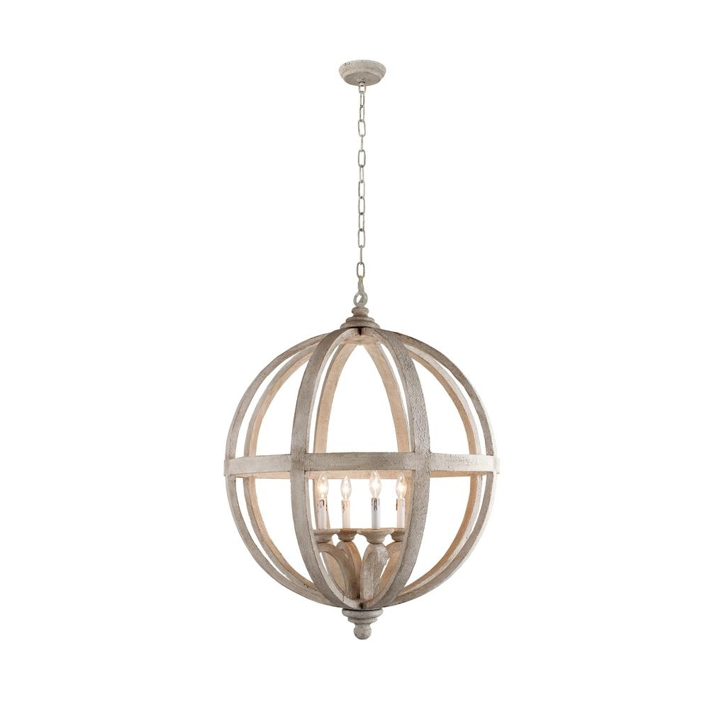 Globe Chandeliers Inside Most Recent Y Decor Hercules 4 Light Brown Wood Globe Chandelier Lz3225 4 – The (Gallery 1 of 20)