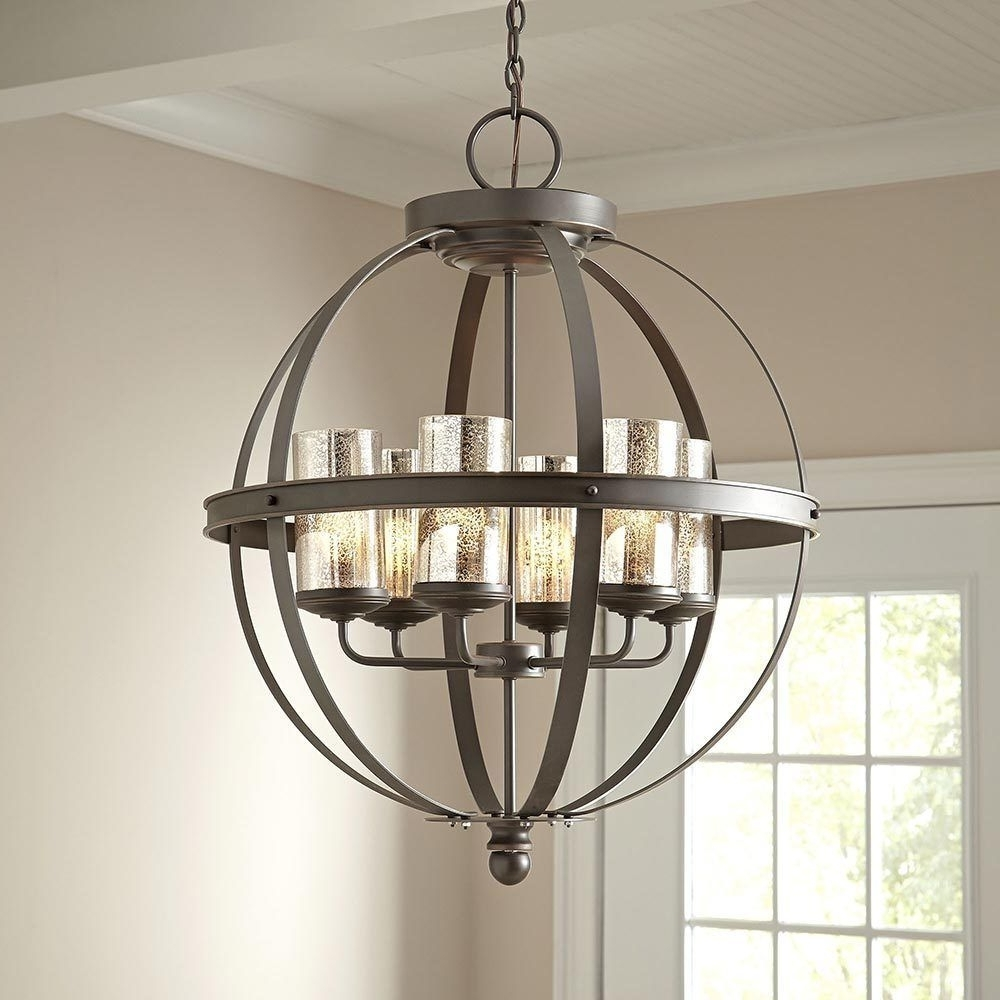 Globe Chandeliers With Regard To Recent Modern 6 Light Globe Chandelier Orb Pendant Lighting Glass Shades (Gallery 12 of 20)