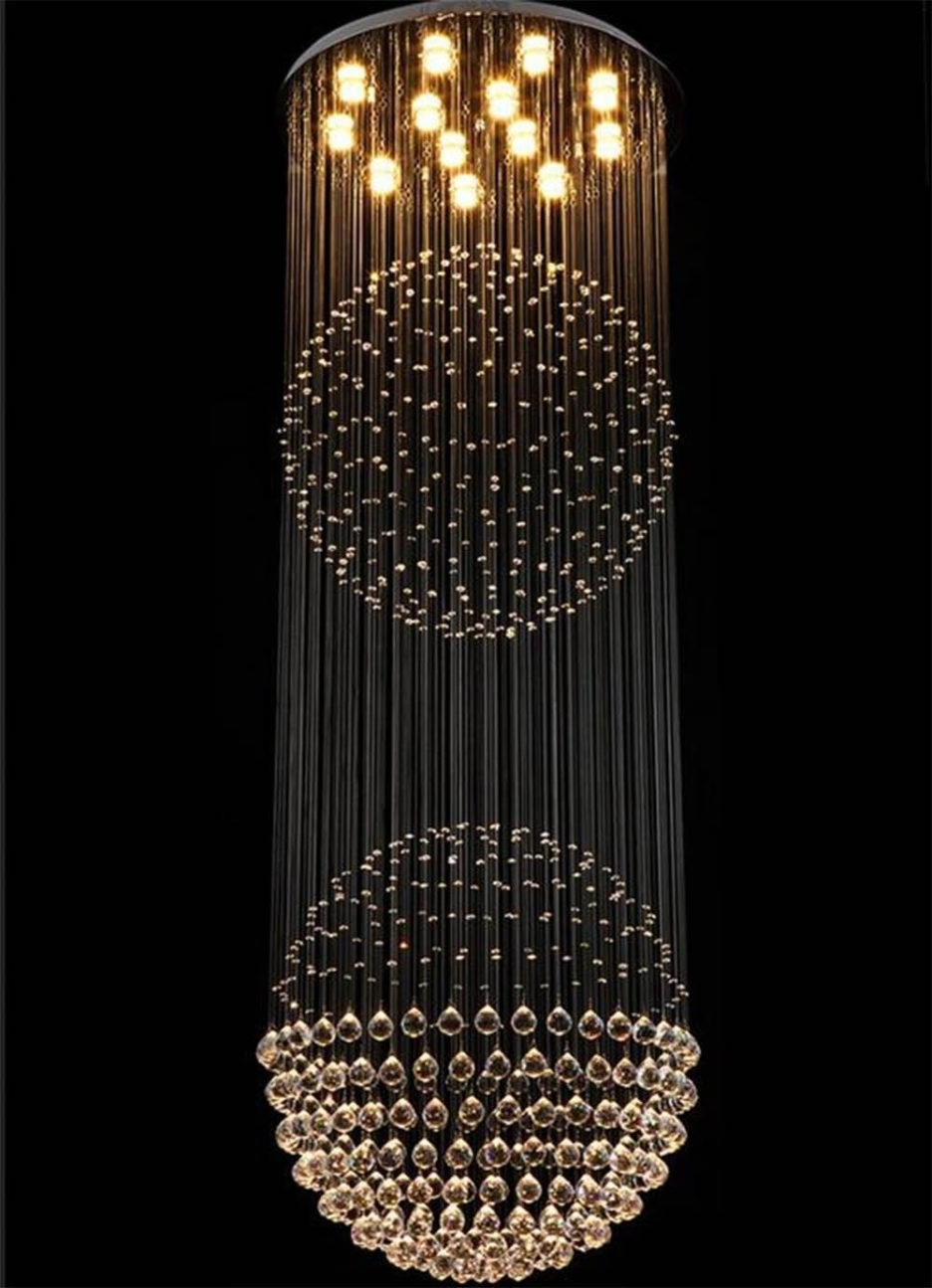 Globe Crystal Chandelier For Famous Luxurious Crystal Chandelier With Rain Drop And Two Large Globe (View 9 of 20)