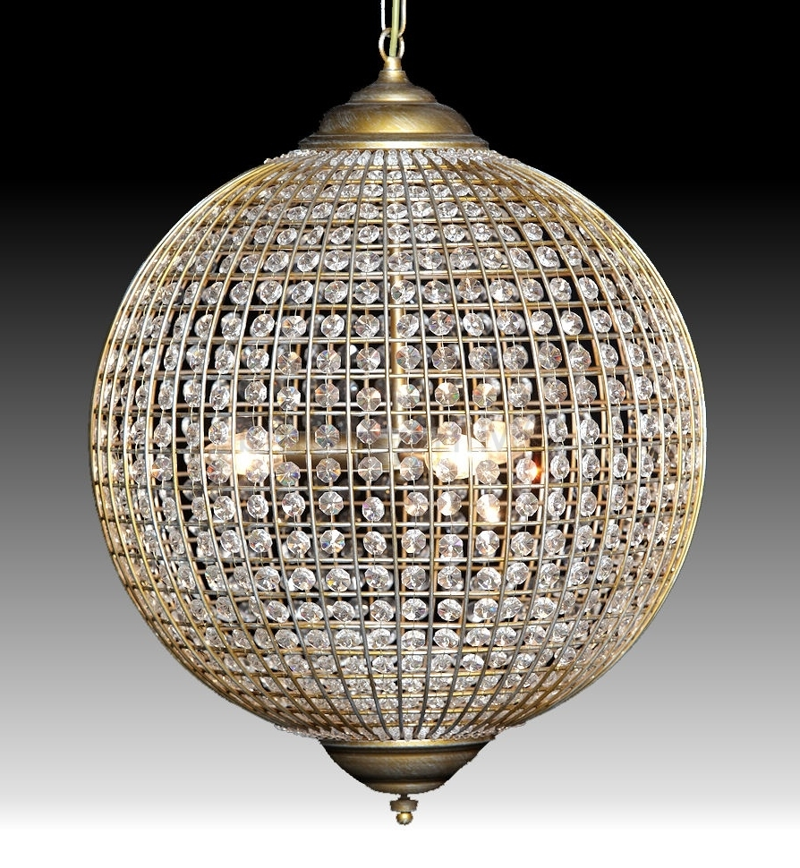 Globe Crystal Chandelier Intended For Most Popular Globe Chandelier Small Bathroom Design With Beautiful Crystal (Gallery 2 of 20)