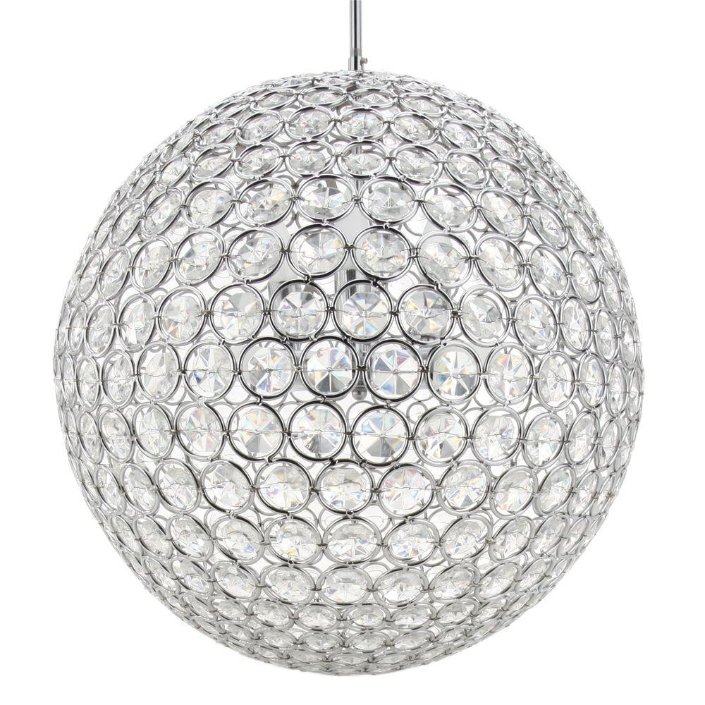 Globe Crystal Chandelier With Favorite Checkolite 8 Light Chrome Crystal Chandelier 10951 15 – The Home Depot (View 14 of 20)