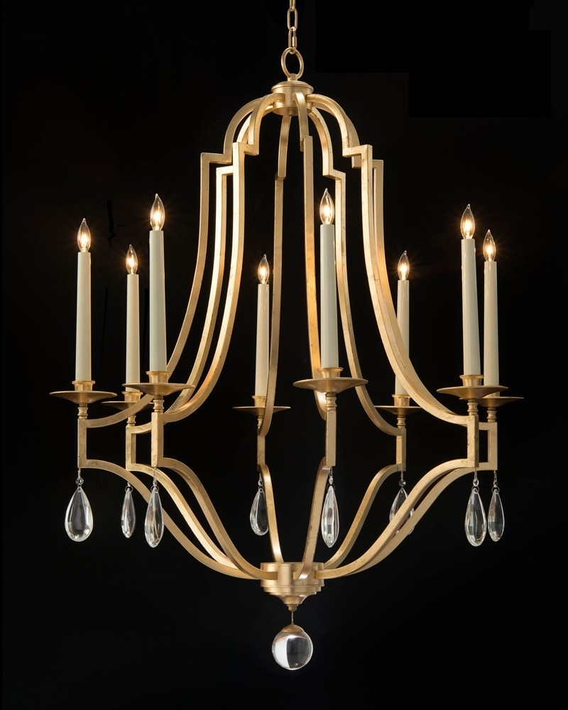 Gold Leaf And Crystal Chandelier – Chandeliers – Fixed Lighting With Regard To Famous Gold Leaf Chandelier (Gallery 8 of 20)