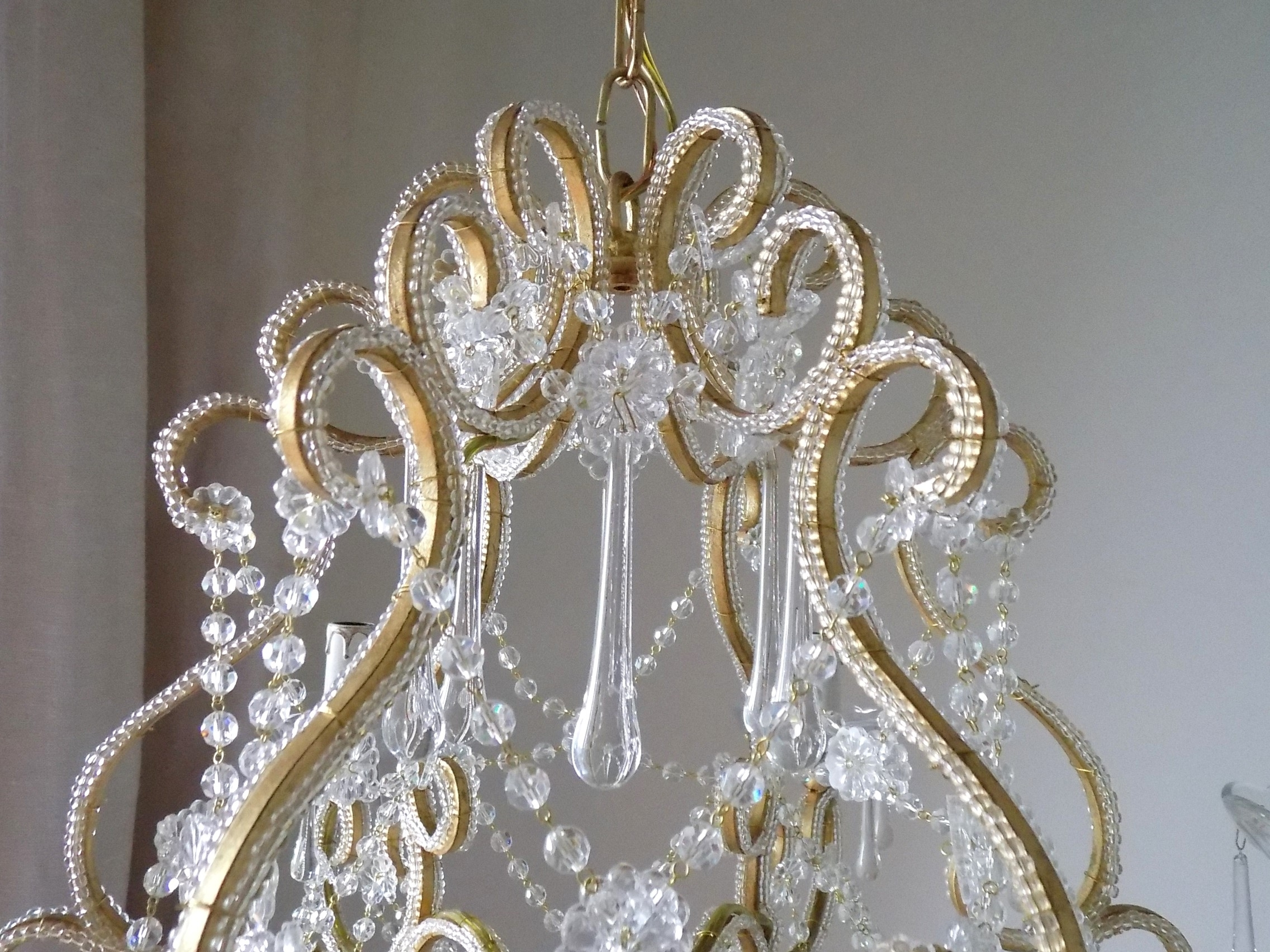 Gold Leaf Chandelier For Favorite Beaded Crystal Birdcage Chandelier Gold Leaf – Lorella Dia (View 7 of 20)