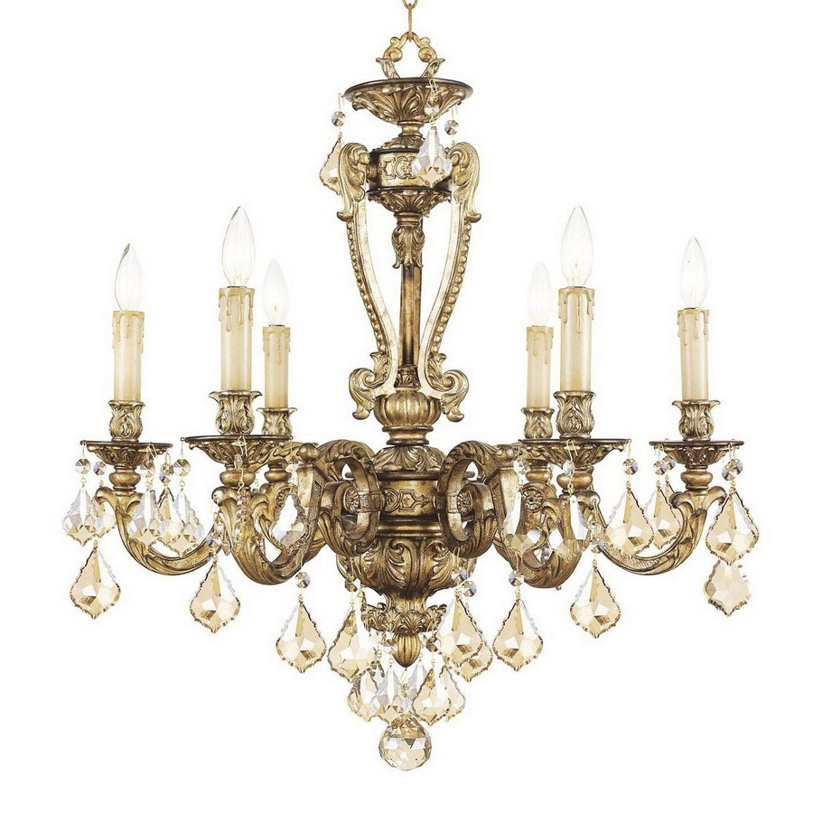 Gold Leaf Chandelier Regarding Well Known Shop Livex Lighting Chateau 6 Light Vintage Gold Leaf Chandelier At (Gallery 12 of 20)