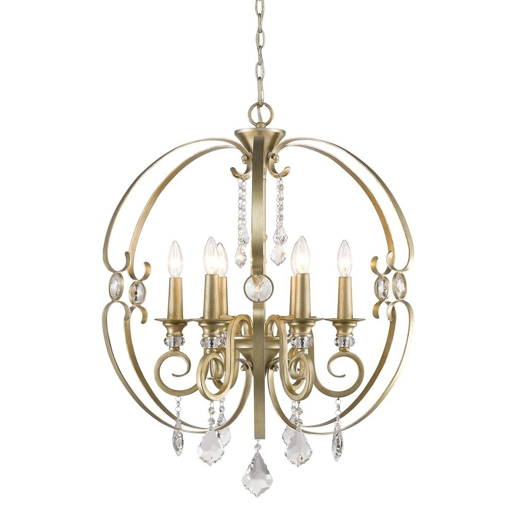 Gold Modern Chandelier In Best And Newest Golden Lighting Ella 6 Light French White Chandelier Light 1323 6 Fw (View 8 of 20)
