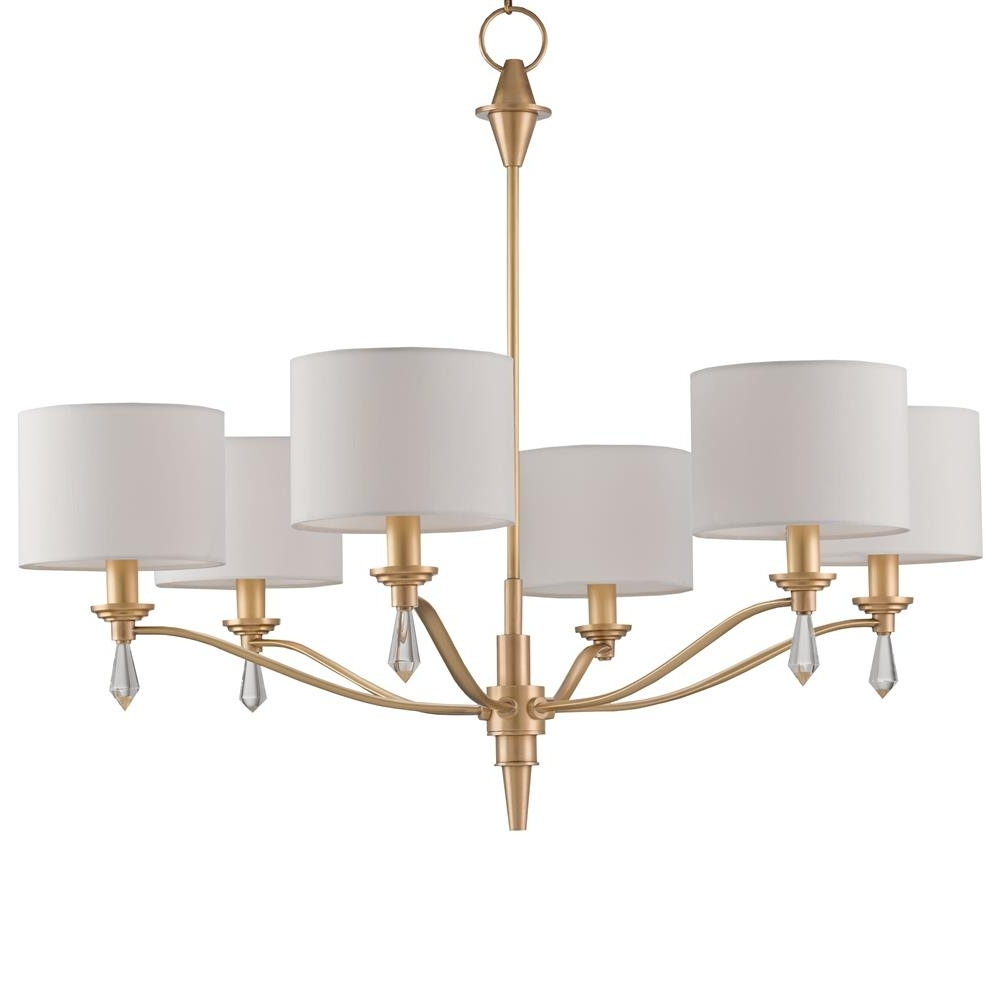 Gold Modern Chandelier Intended For Most Recent Kim Modern Classic Brushed Gold Crystal Finial 6 Light Chandelier (Gallery 6 of 20)