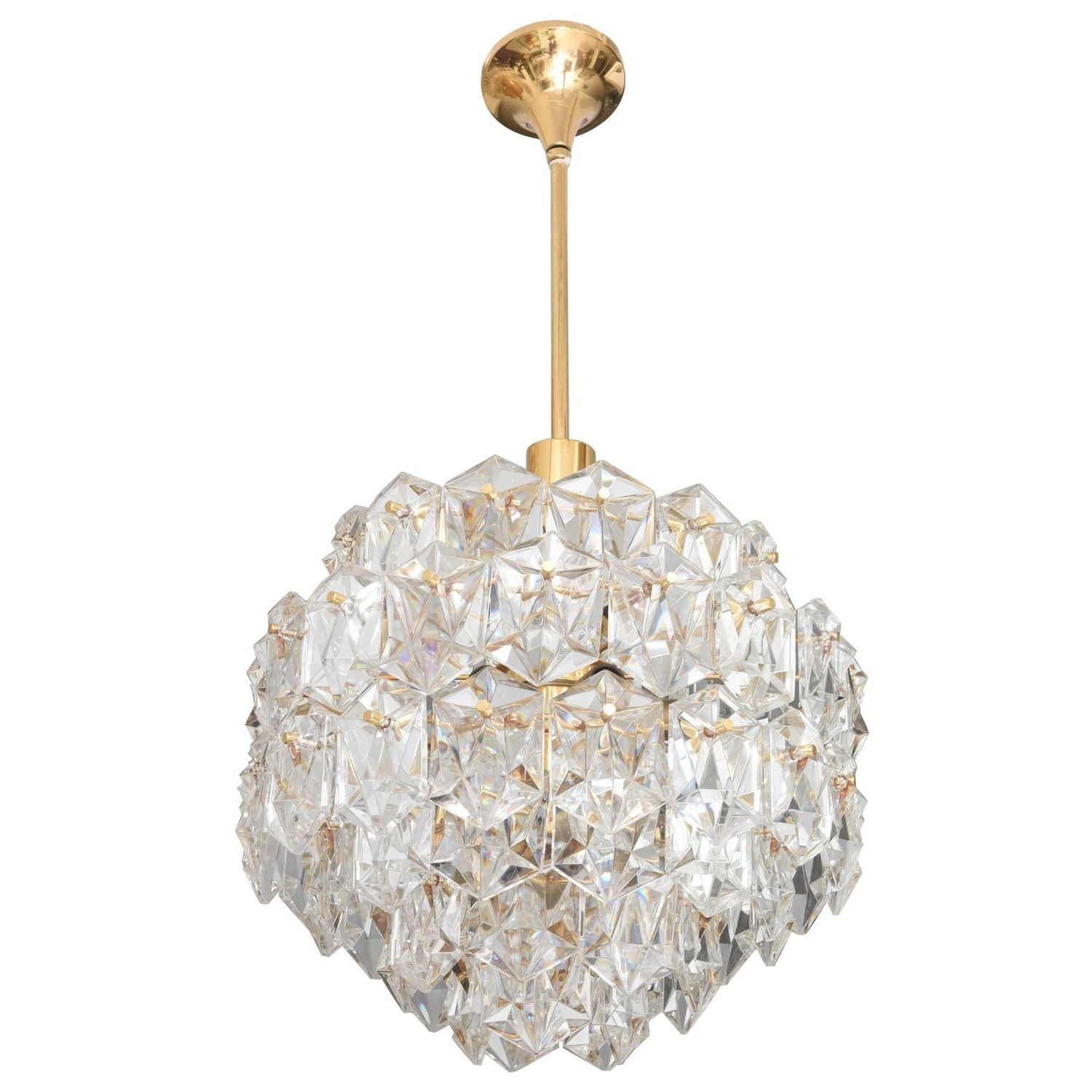 Gold Modern Chandelier Regarding Most Up To Date Mid Century Modern Chandelier, Gold Plated With Molded Crystals (Gallery 3 of 20)