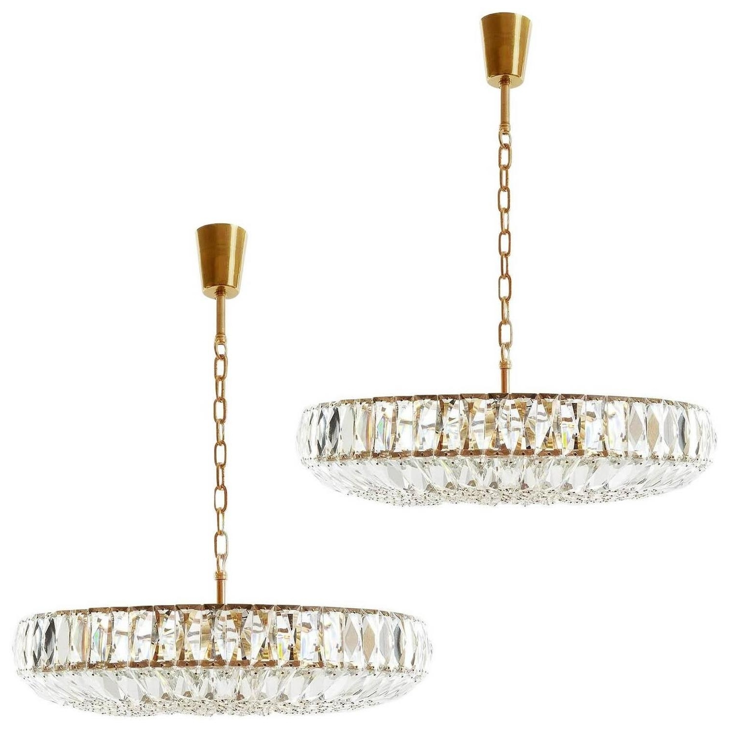 Gold Modern Chandelier With Regard To Most Up To Date Pair Of Bakalowits Style Chandeliers, Gold Brass Crystal, Austria (View 16 of 20)