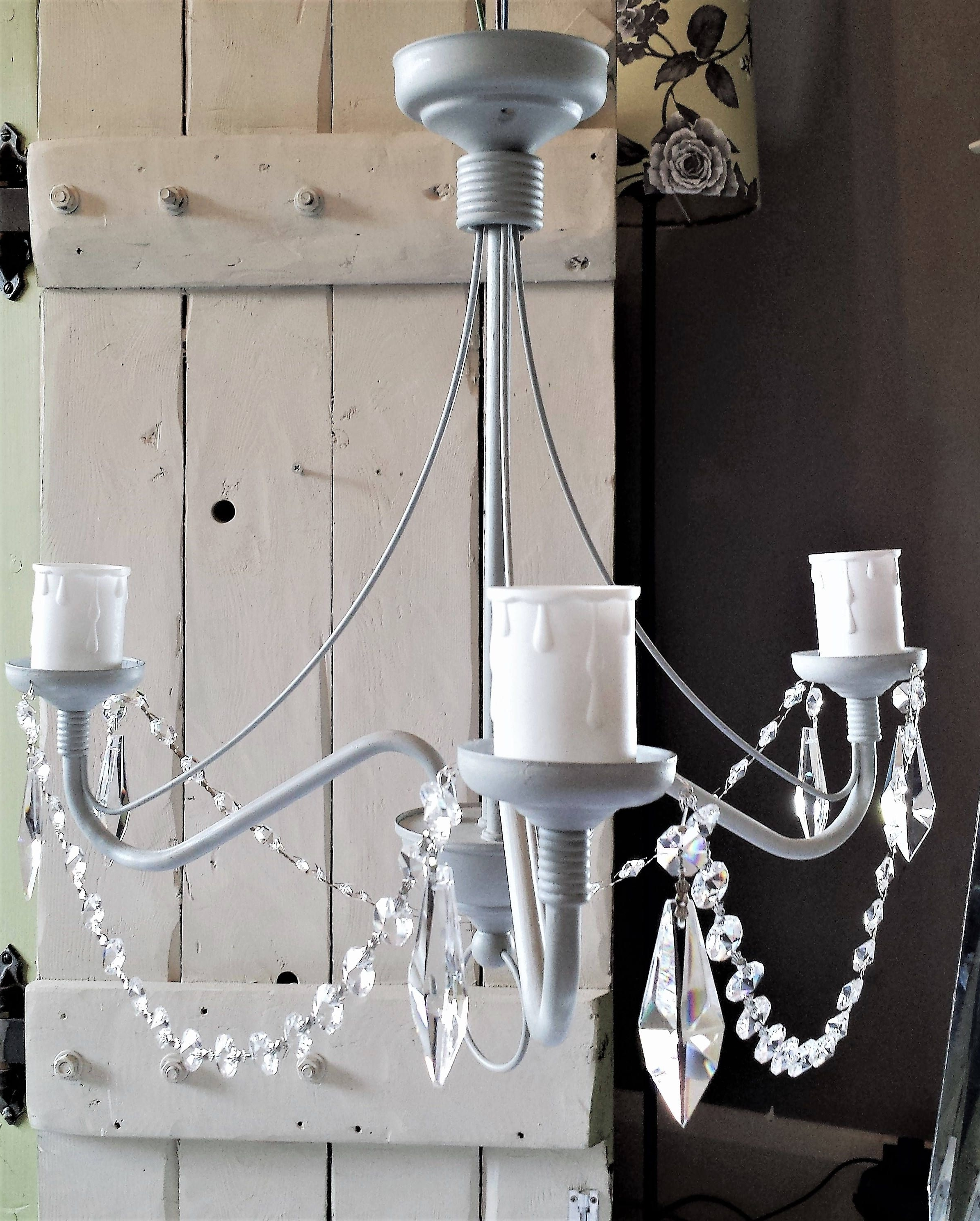 Grey Chandeliers For Preferred Paris Grey Chandelier Light Fixture, Upcycled Shabby Chic Flush (View 12 of 20)