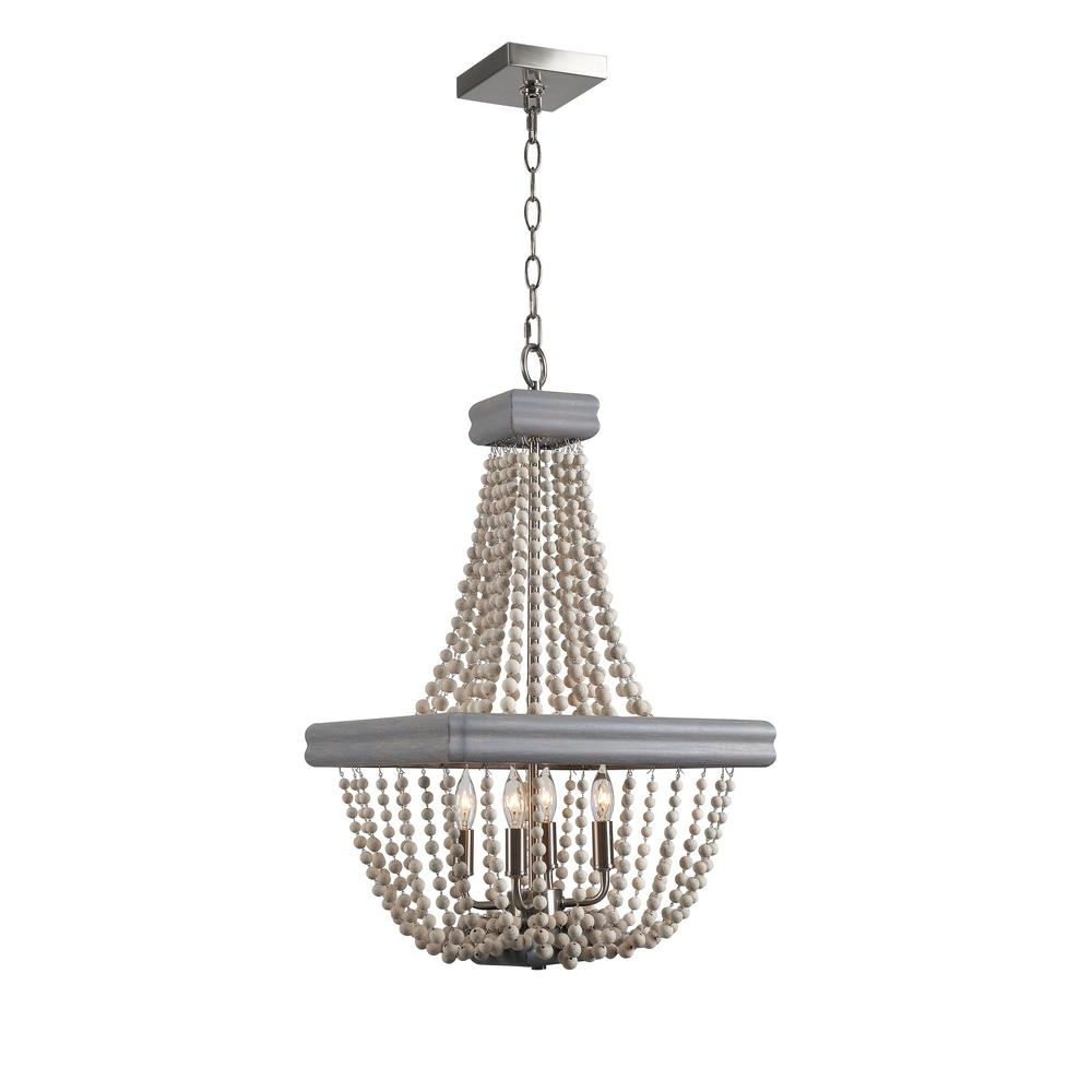 Grey Chandeliers Regarding Most Popular Kenroy Home Drape 4 Light Grey Chandelier 93914Gry – The Home Depot (Gallery 15 of 20)