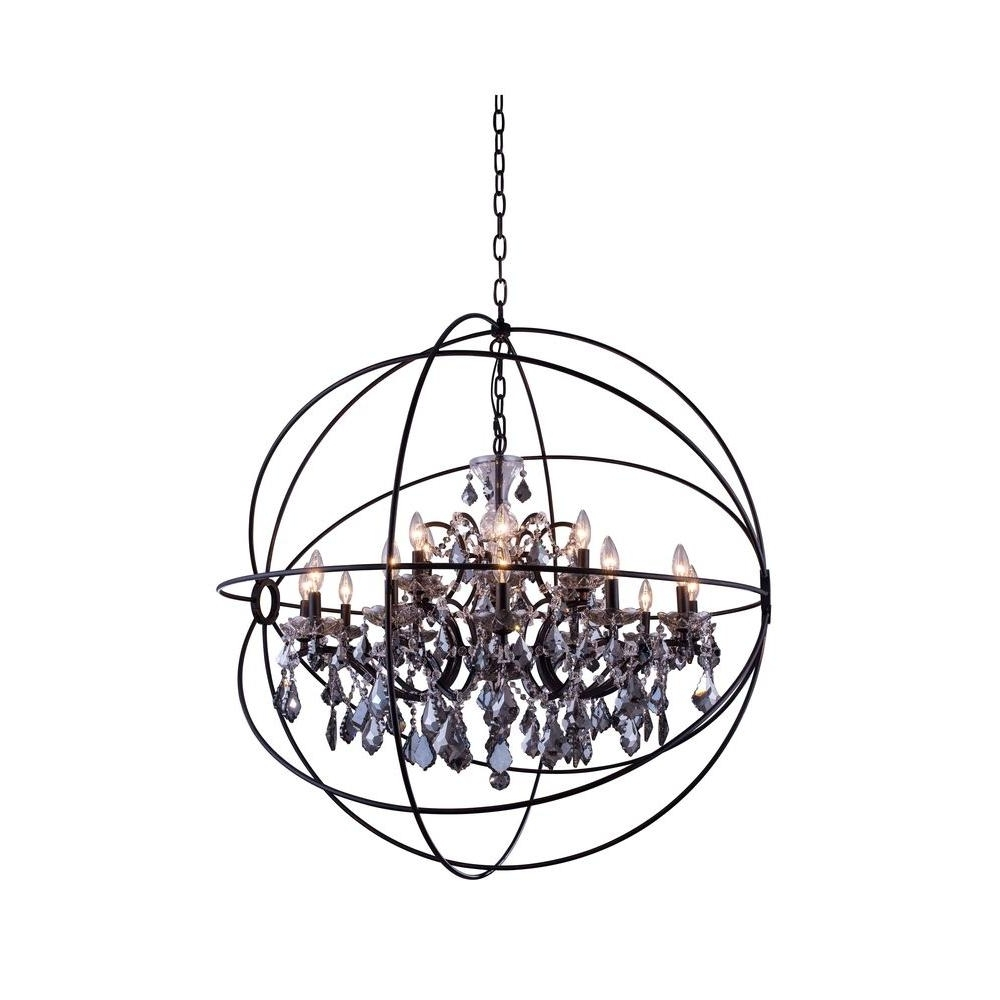 Grey Chandeliers Regarding Well Known Elegant Lighting Geneva 18 Light Dark Bronze Chandelier With Silver (View 7 of 20)