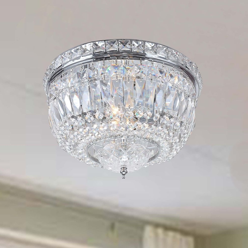 Grey Crystal Chandelier In Well Known Elisa Chrome (grey) Crystal Basket Flush Mount Chandelier (chrome (View 20 of 20)