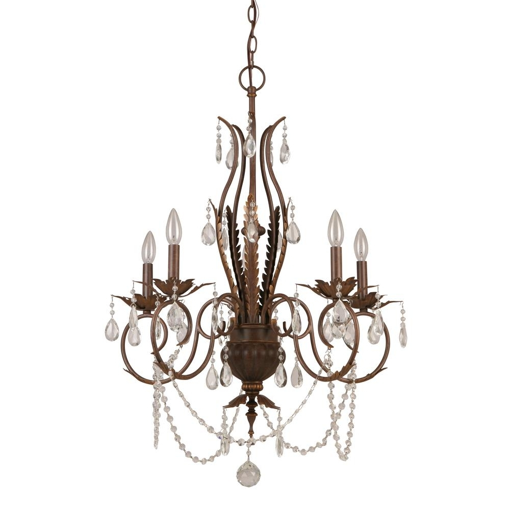 Hampton Bay 5 Light Bronze Crystal Chandelier Bvb9115A – The Home Depot Intended For Most Recently Released Bronze And Crystal Chandeliers (View 13 of 20)