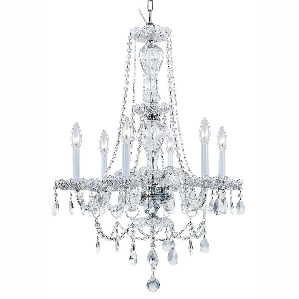 Hampton Bay Lake Point 6 Light Chrome And Clear Crystal Chandelier Within Fashionable Crystal Chandeliers (View 9 of 20)