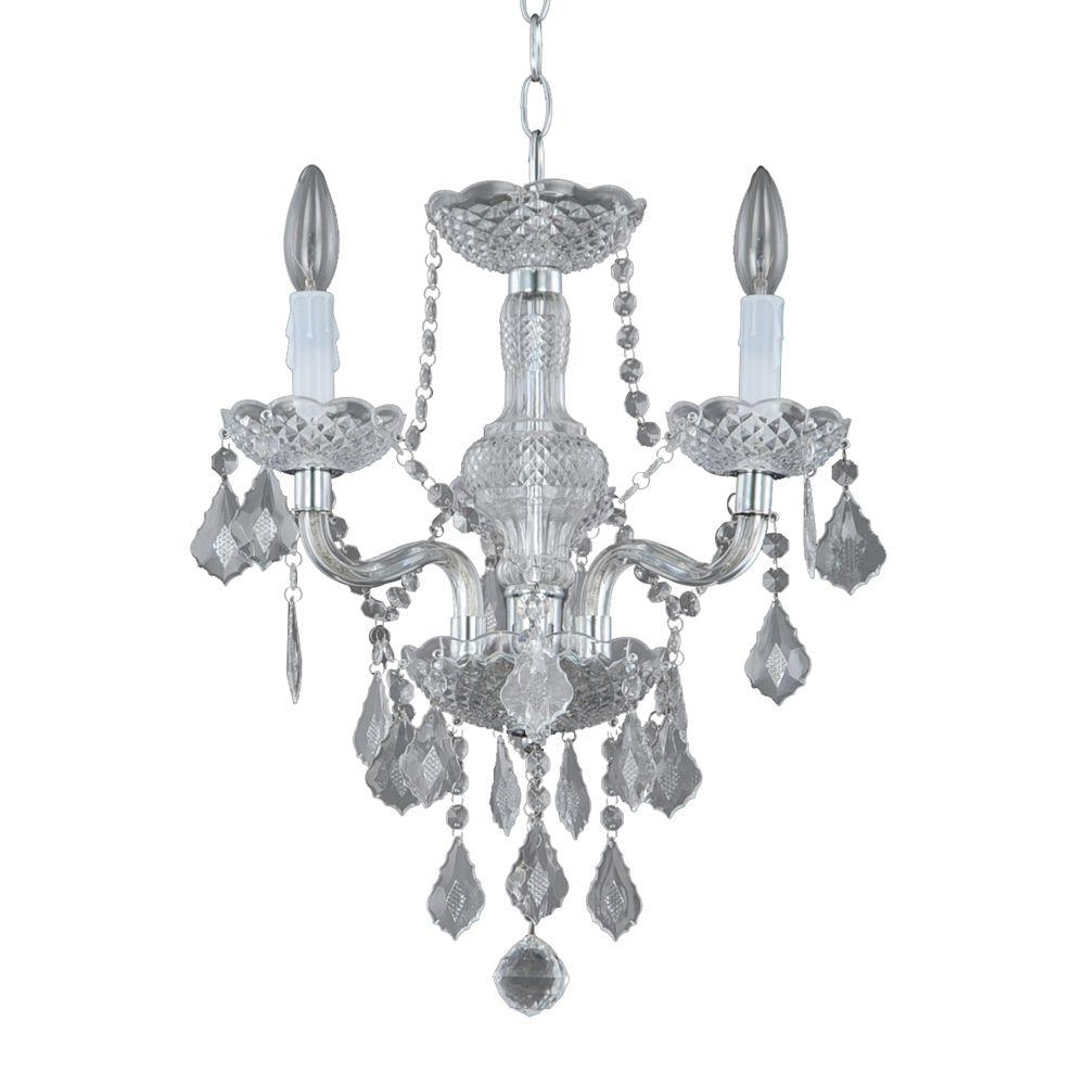 Hampton Bay Maria Theresa 3 Light Chrome And Clear Acrylic Mini Regarding Famous Grey Chandeliers (View 9 of 20)