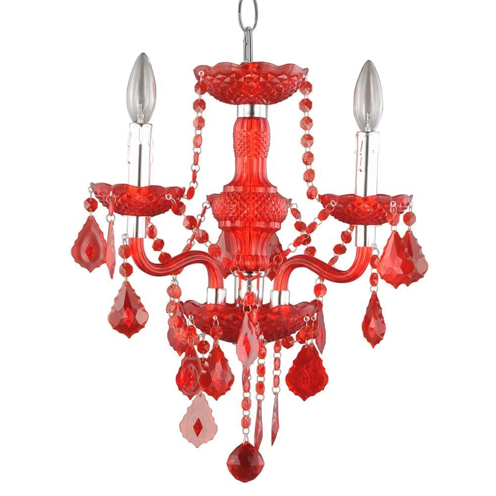 Hampton Bay Maria Theresa 3 Light Chrome And Clear Acrylic Mini Throughout 2018 Red Chandeliers (View 8 of 20)
