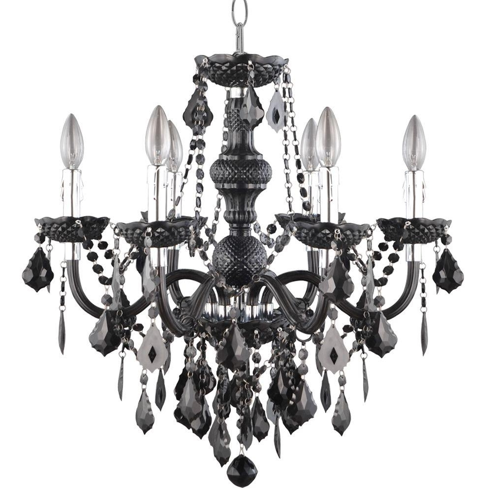 Hampton Bay Maria Theresa 6 Light Chrome And Red Acrylic Chandelier Throughout Most Current Black Chandeliers (View 12 of 20)