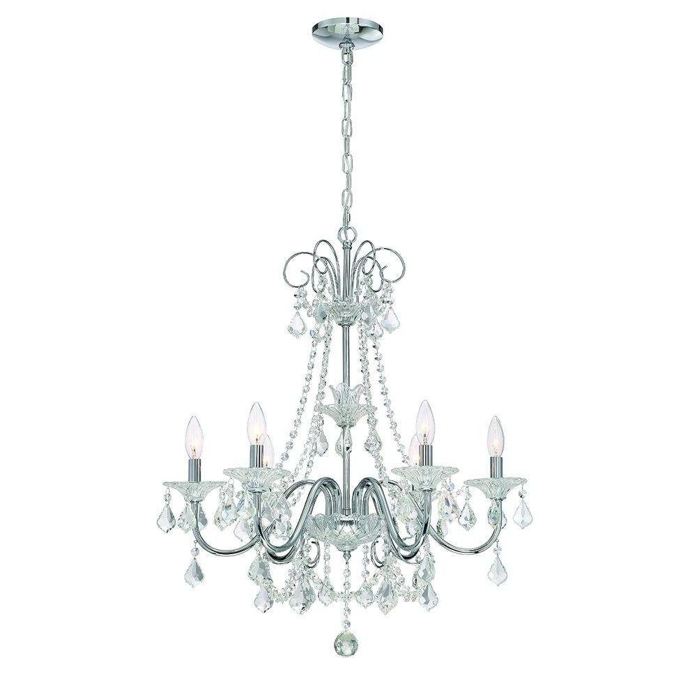 Home Decorators Collection 6 Light Chrome Crystal Chandelier 29360 For Recent Crystal And Chrome Chandeliers (View 7 of 20)