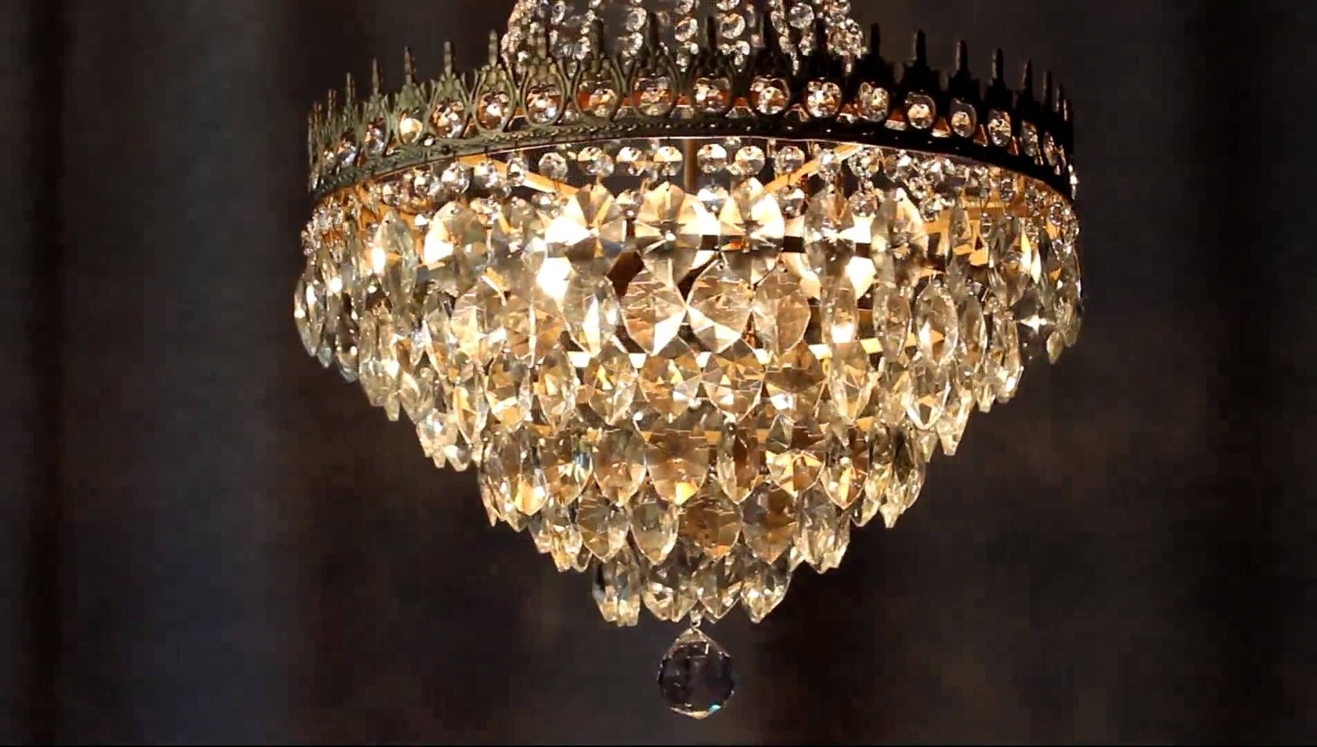 Huge Antique Luster Crystal Candelabra Chandelier Lighting Brass Old Throughout Well Liked Huge Chandeliers (View 12 of 20)