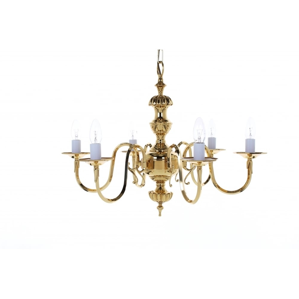 Impex Lighting Ghent 6 Light Cast Brass Georgian Chandelier Bf19106 For Fashionable Georgian Chandelier (View 7 of 20)