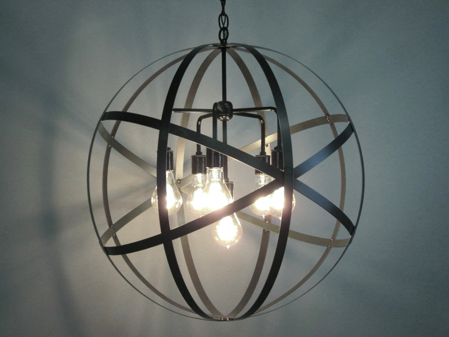 Industrial Orb Chandelier Ceiling Light Sphere 24 With Clear Glass Intended For Favorite Orb Chandeliers (Gallery 5 of 20)