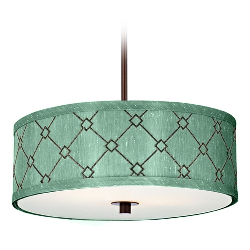 Interior: Light Blue Fabric Drum Chandelier With White Shade ~ Fileove Regarding Widely Used Fabric Drum Shade Chandeliers (View 7 of 20)