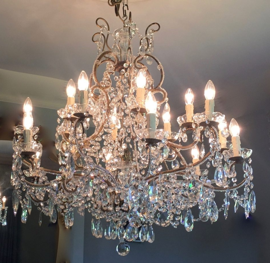 Italian Chandeliers Pertaining To Widely Used Pair Of Gilt Beaded Italian Chandeliers (Fal0201) – Crystal Corner (Gallery 14 of 20)