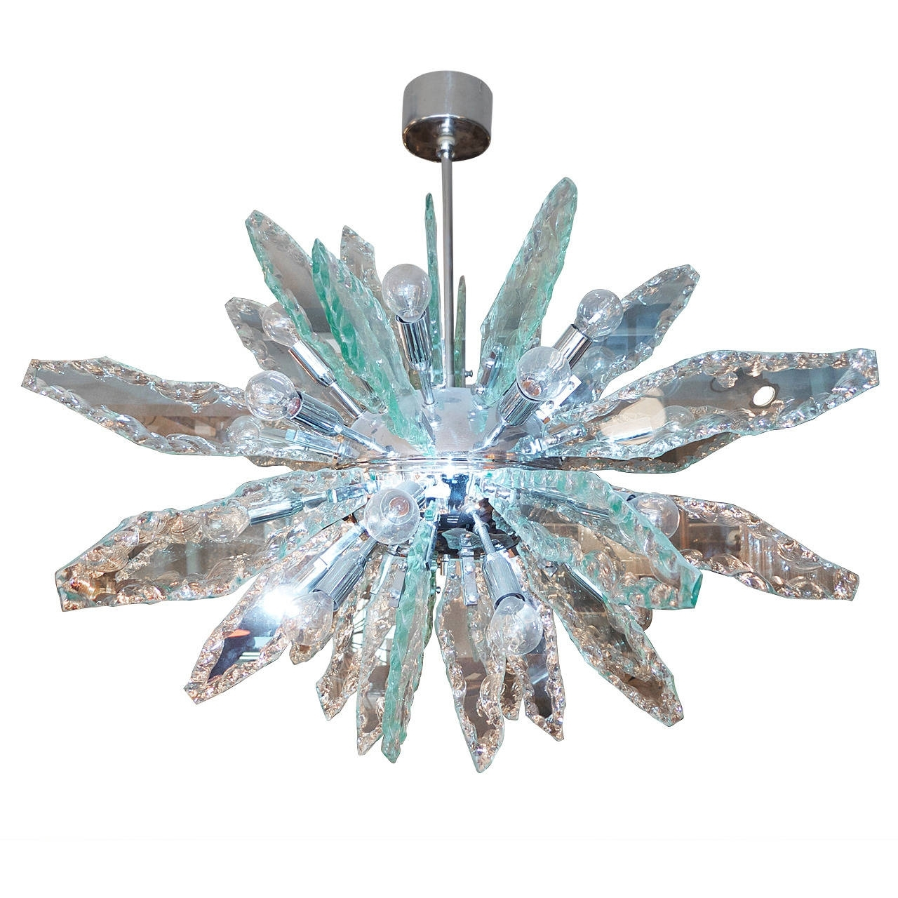 Italian Glass And Chrome Sputnik Chandelier Fontana Arte Style At Throughout Favorite Italian Chandeliers Style (Gallery 3 of 20)