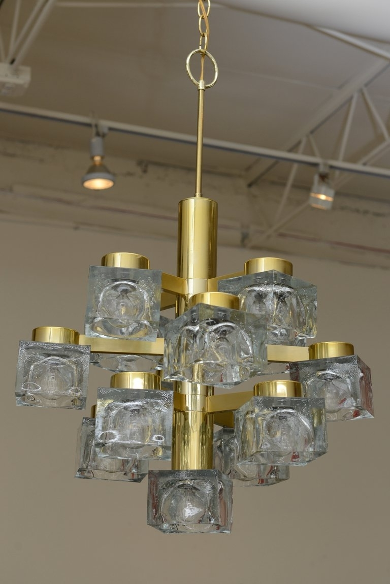 Italian Large Gaetano Sciolari Brass And Cube Glass Chandelier For In Famous Brass And Glass Chandelier (View 11 of 20)