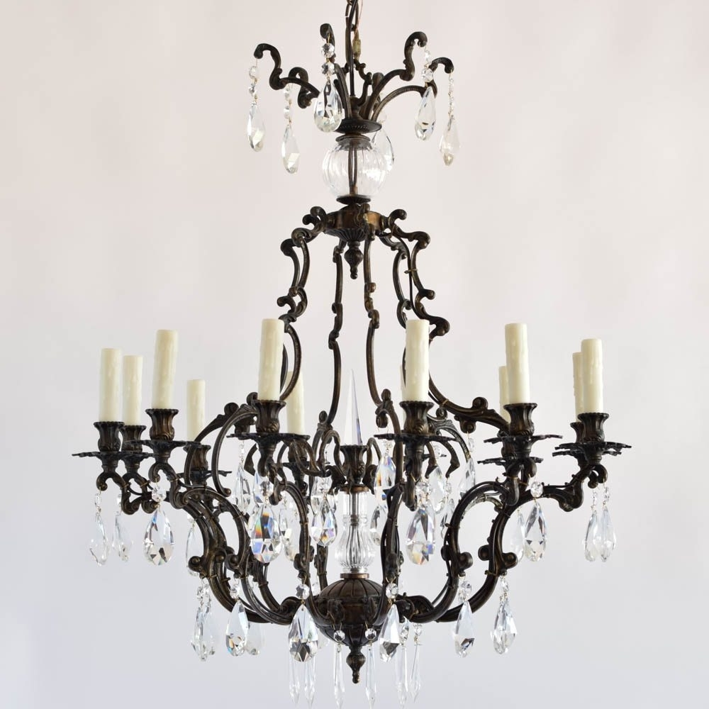 Italian Rococo Bronze Chandelier With Crystal – The Big Chandelier In Recent Bronze And Crystal Chandeliers (View 14 of 20)
