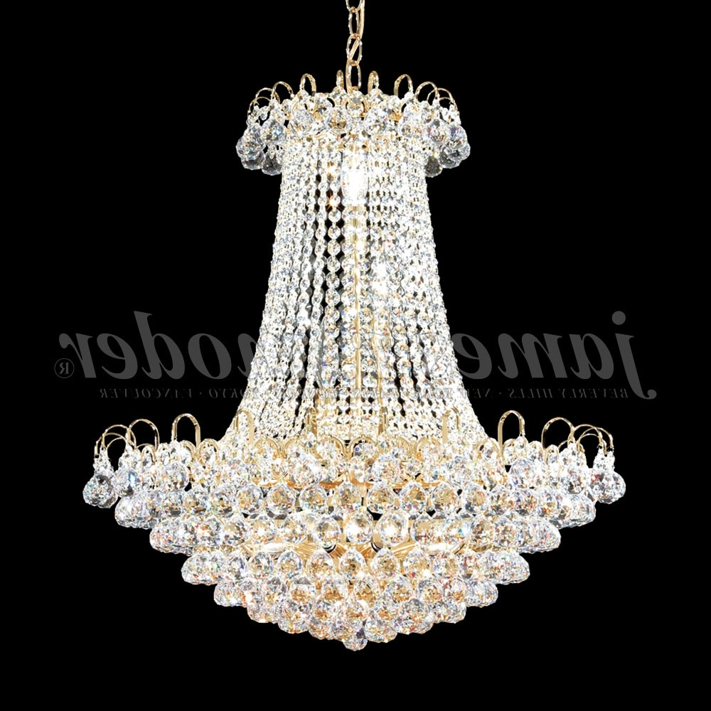 James Moder 94805G22 Jacqueline Crystal Gold Chandelier Lighting Intended For Current Crystal Gold Chandelier (View 15 of 20)