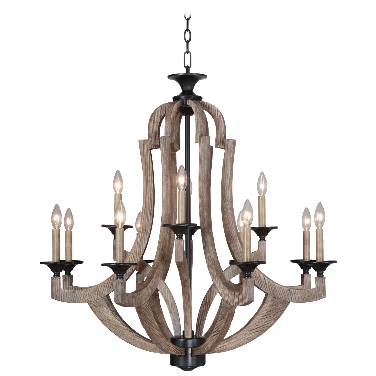 Jeremiahcraftmade Winton Weathered Pine And Bronze 12 Light Intended For Popular Candle Light Chandelier (View 5 of 20)