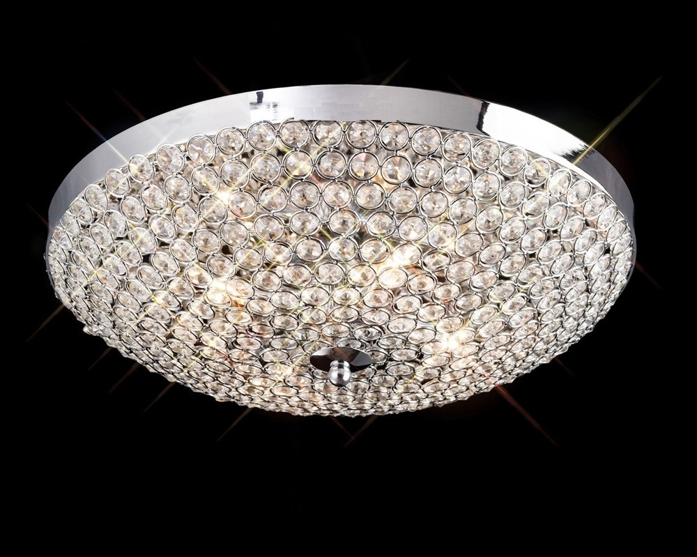 Kula 4 Light Crystal Chrome Flush Ceiling Fitting Inside Popular Flush Fitting Chandeliers (Gallery 10 of 20)