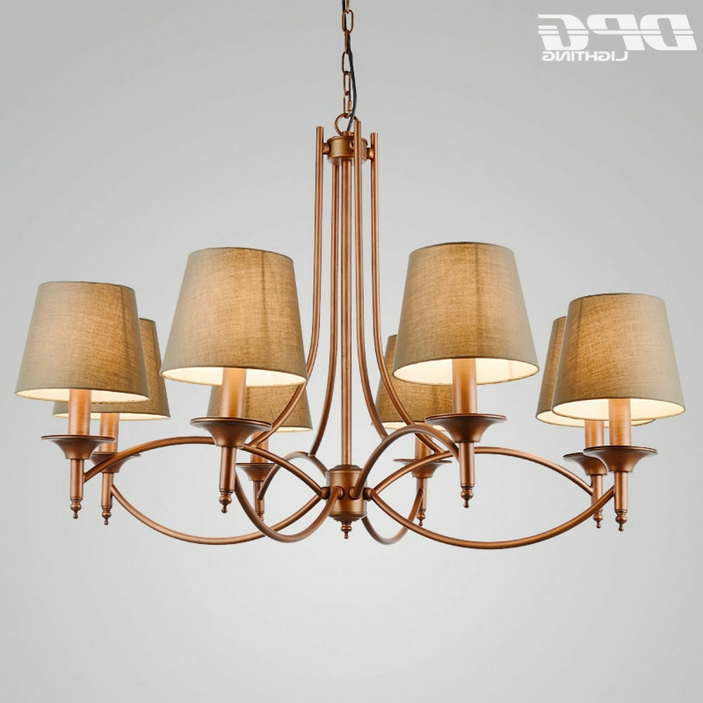Lampshade Chandeliers Pertaining To Fashionable Modern Green Lampshade Traditional Room Gold Iron Chandelier Flush (View 7 of 20)
