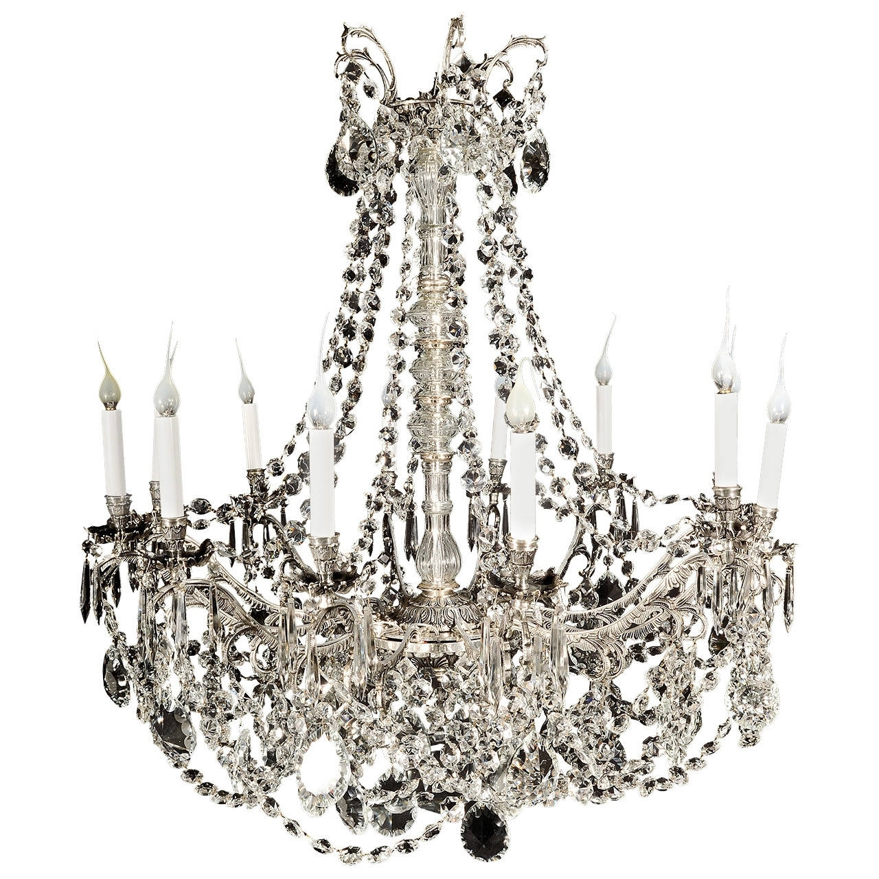 Large Antique French Louis Xvi Style Silvered Bronze And Cut Crystal Throughout Most Current Antique French Chandeliers (View 4 of 20)
