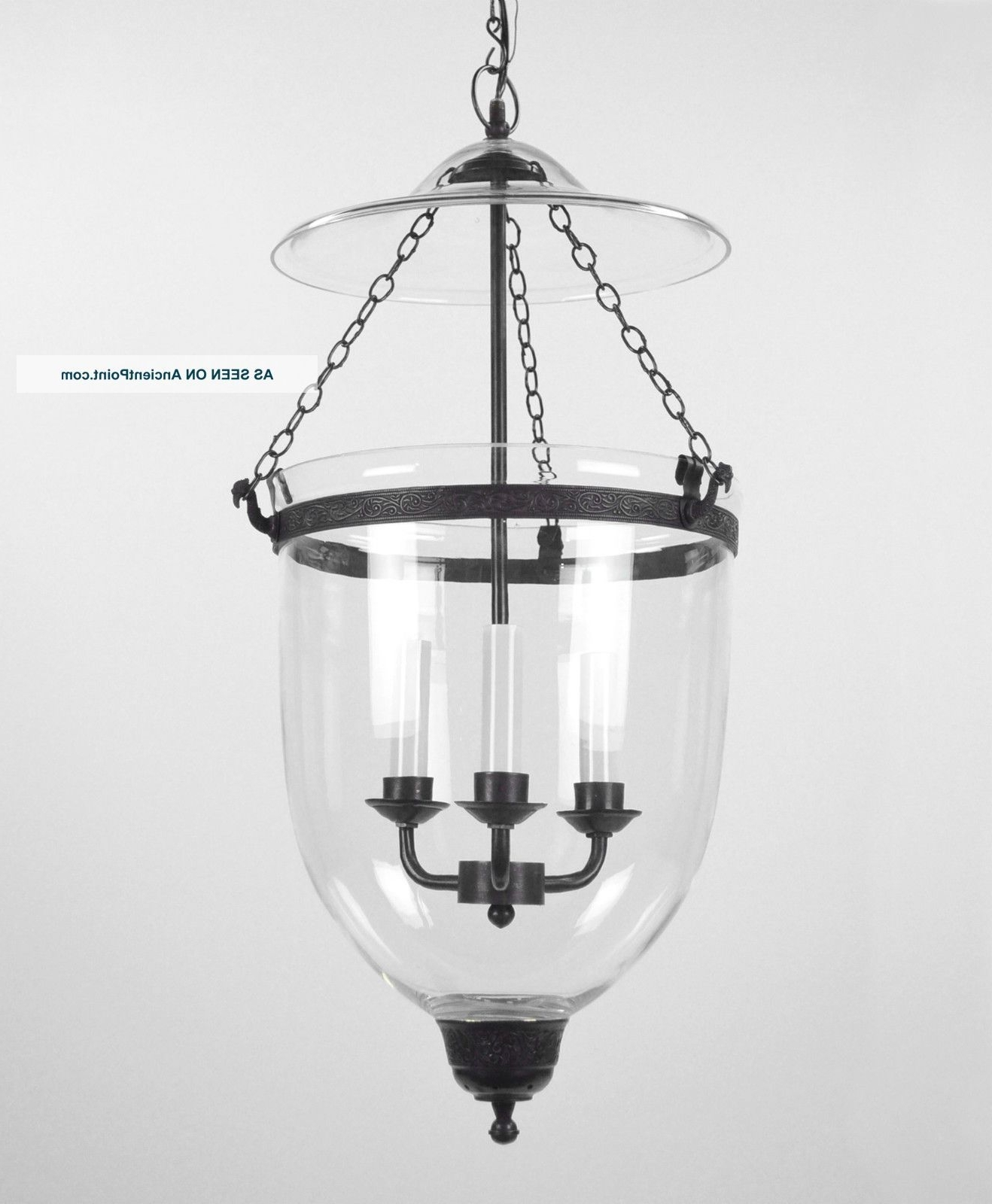 Large Bell Jar Light Chandelier Pendant Lantern Glass Colonial Old Within Newest Antique Style Chandeliers (View 15 of 20)